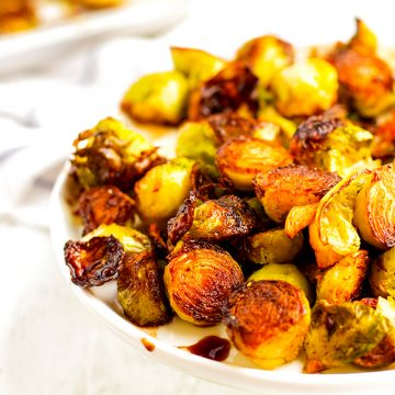 Roasted Brussels sprouts are a healthy side dish.
