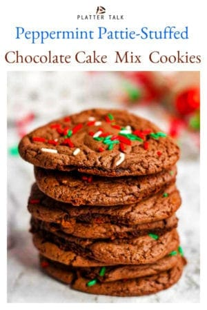 These chocolate cake mix cookies from Platter Talk have a minty surprise in the center, making them the perfect chocolate cookies for Santa and his team! #easy #chewy #mint #fromcakemix #chocolatecookies #recipe #Christmascookies
