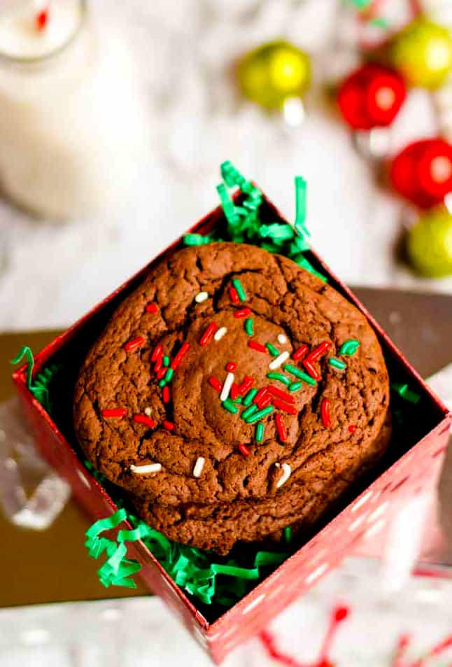 Chocolate cake mix cookies can be stuffed with a peppermint patty.
