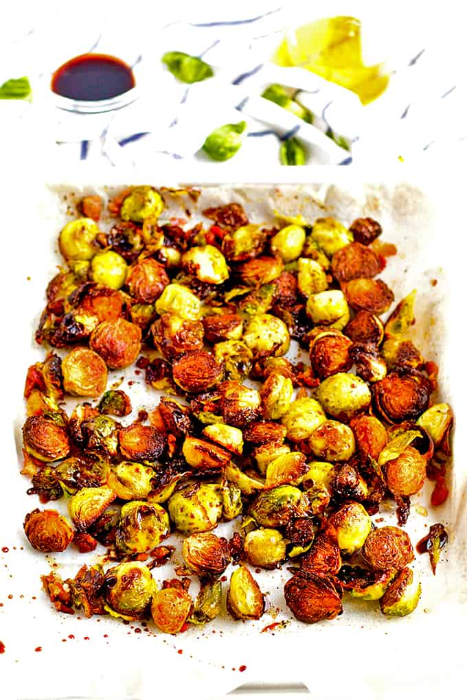 Add balsaic vinegar to roasted Brussels sprouts.