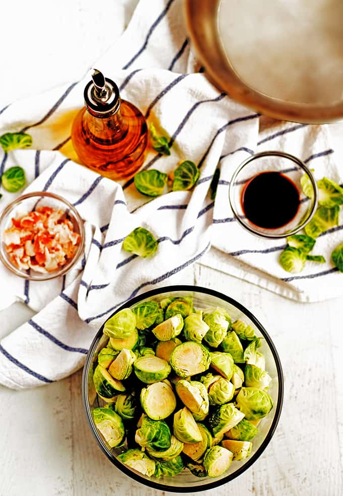 Ingredients for roasted Brussels sprouts.