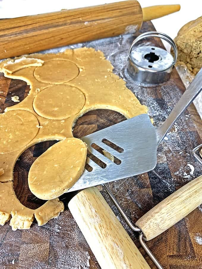 Use a spatula for moving date cookies.