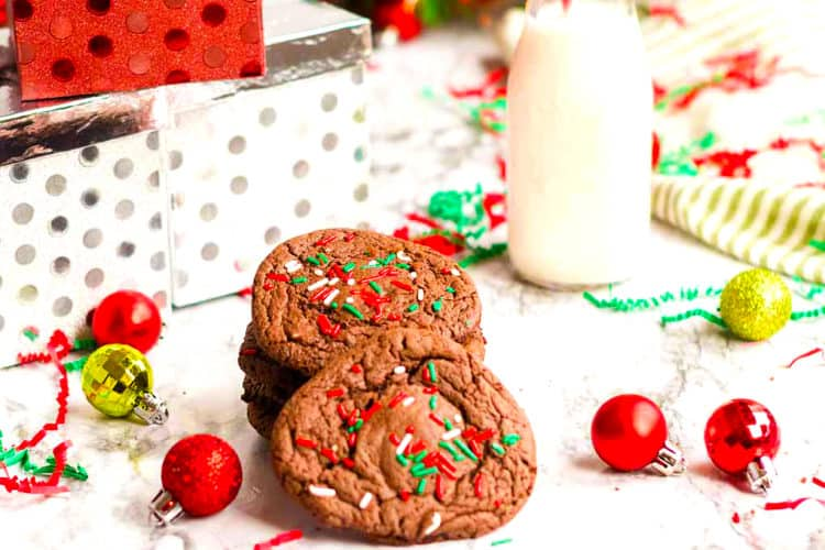 Make these chocolate cake mix cookies for Christmas.