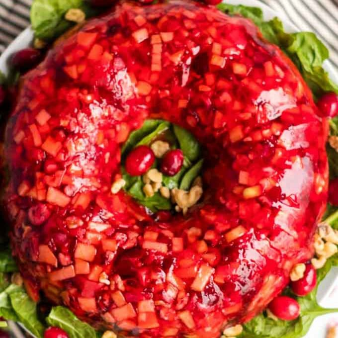 Round cranberry salad over a bed of greens.