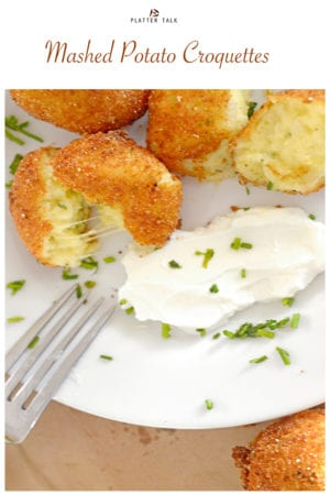 Masshed potatoe croquettes and sour cream