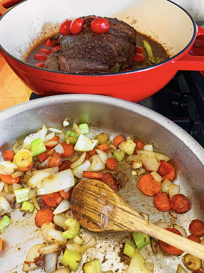 Make the mirepoix for braised beef.