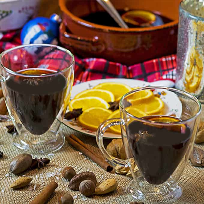 Two glasses of mulled sangria
