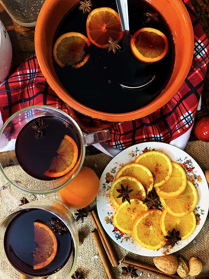 Overhead view of mulled sangria with orange slices