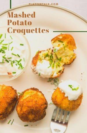 Plate of potato croquettes.
