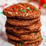 A stack of chocolte Christmas Cookies