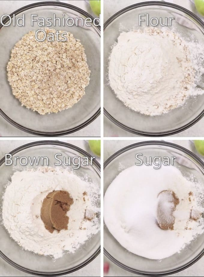 Ingredients for oatmeal bars.
