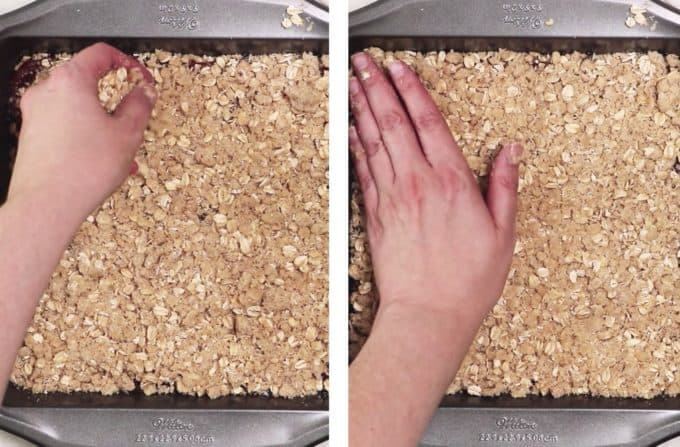 Patting oat mixture in a pan for oatemeal bars.