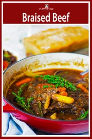 Braised beef is the perfect way to turn a chewy and inexpensive beef roast into a tender and savor dinnertime masterpiece. #roast #easy #Dutchoven #stew #redwine #crockpot #slowcooker