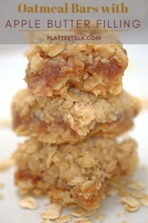 Stack of oatmeal bars filled with apple butter.