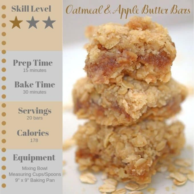 Stack of oatmeal bars with recipe information