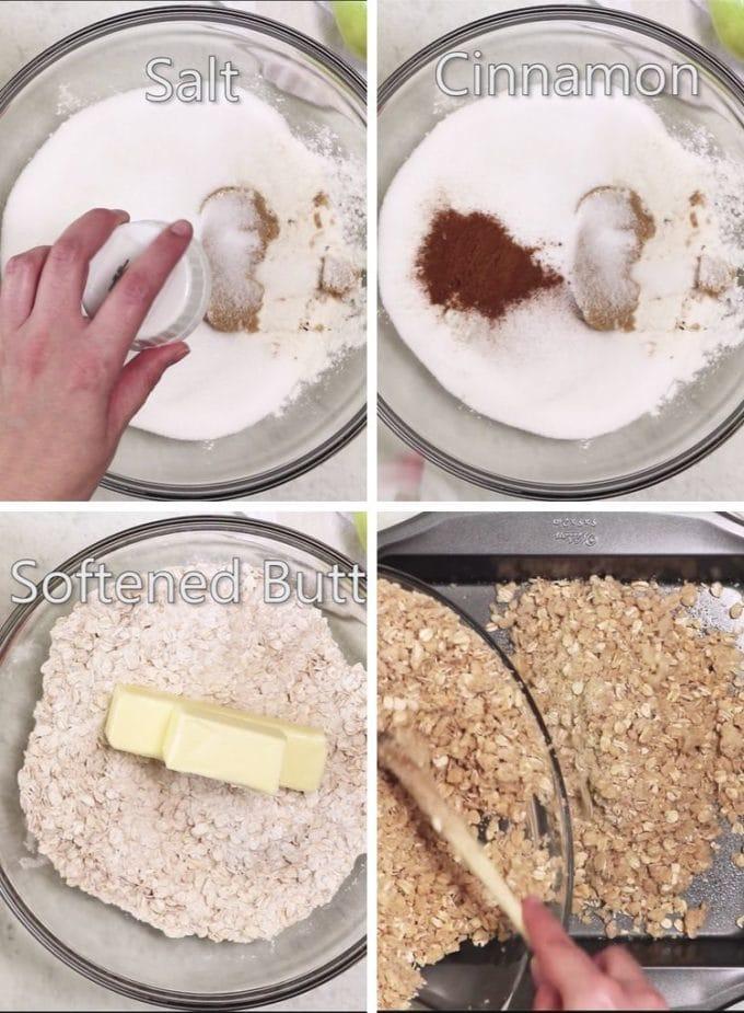 Mixing ingredients to make oat bars.