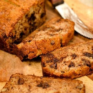 Slices of banana bread on a cutting baord.