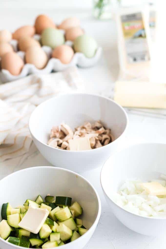 Ingredients for crustless vegetarian quiche.