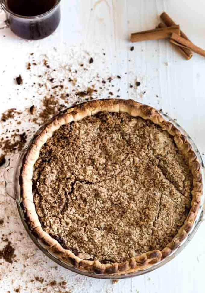 Overhead view of a whole shoofly pie.
