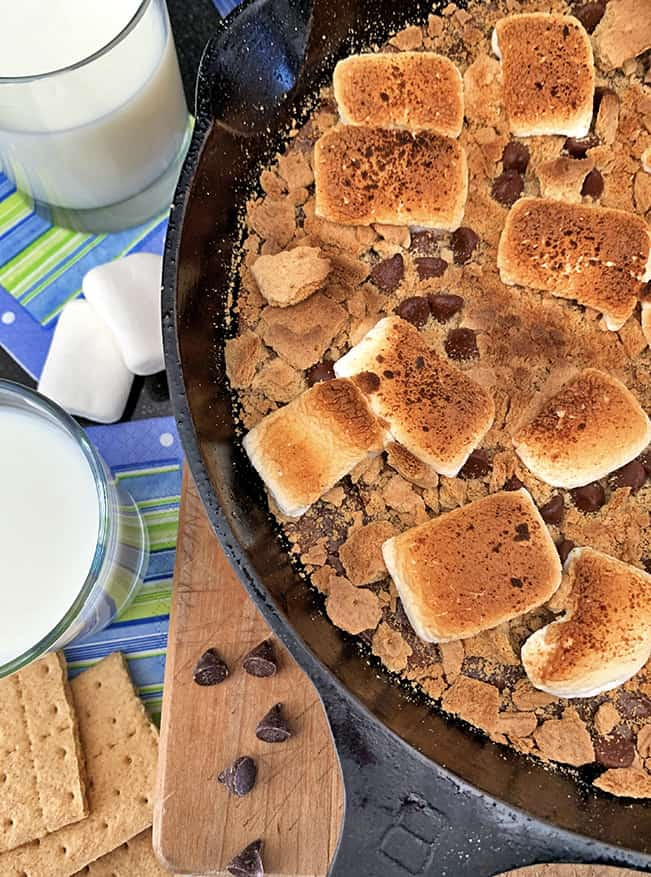 Oven s'mores with milk.