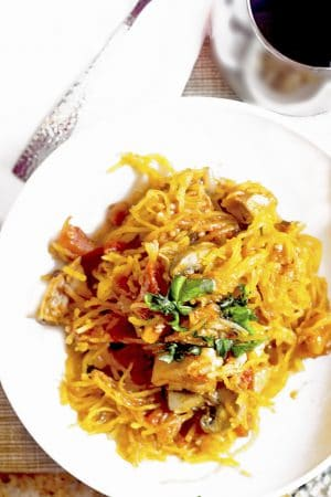Roasted spaghetti squash with chicken recipe.
