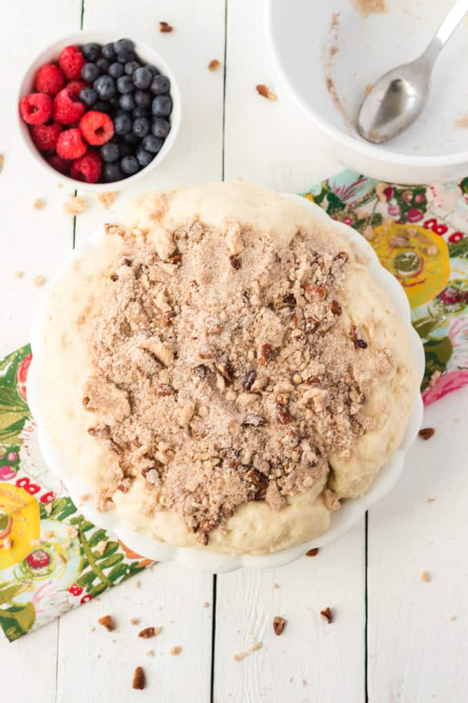 Unbaked coffee cake dough.