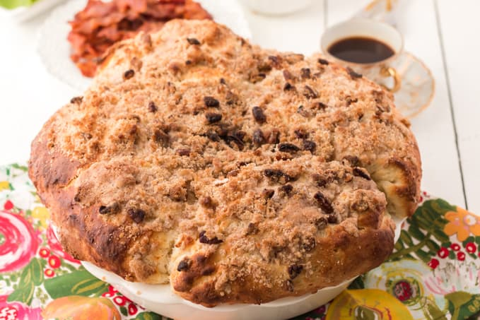 raised German coffee cake with crumble topping.