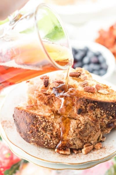 Adding Pure maple syrup to coffee cake.