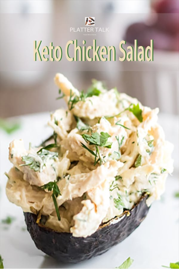 Serving of keto chicken salad in an avocado.