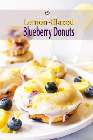 Stack of blueberry donuts with lemon glaze