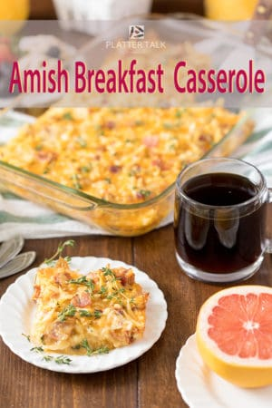breakfast table with make-ahead breakfast casserole, coffee and grapefruit.