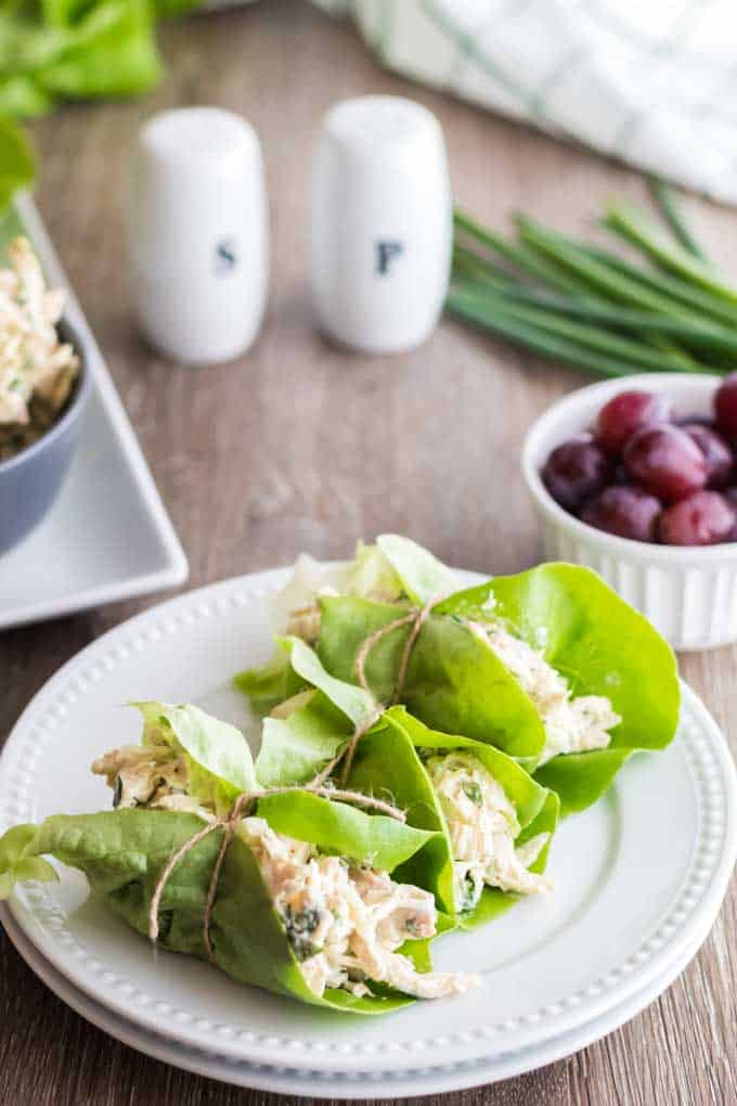 plate of low carb wraps using keto chicken salad.
