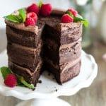 Keto chocolate cake on a pedistal serving dish.