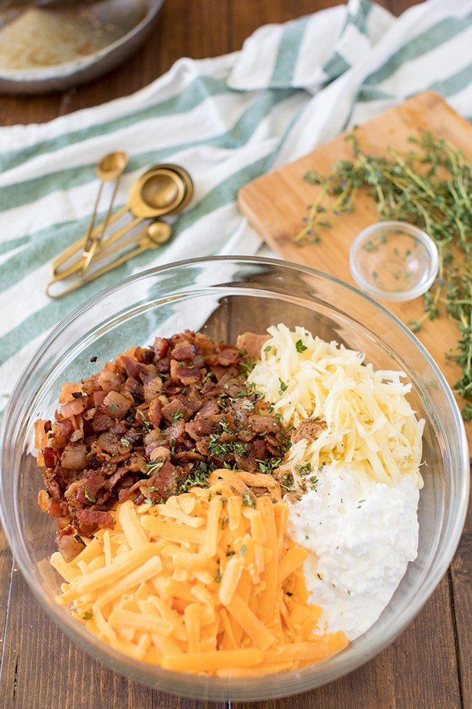Bowl of bacon and cheese for make-ahead breakfast,