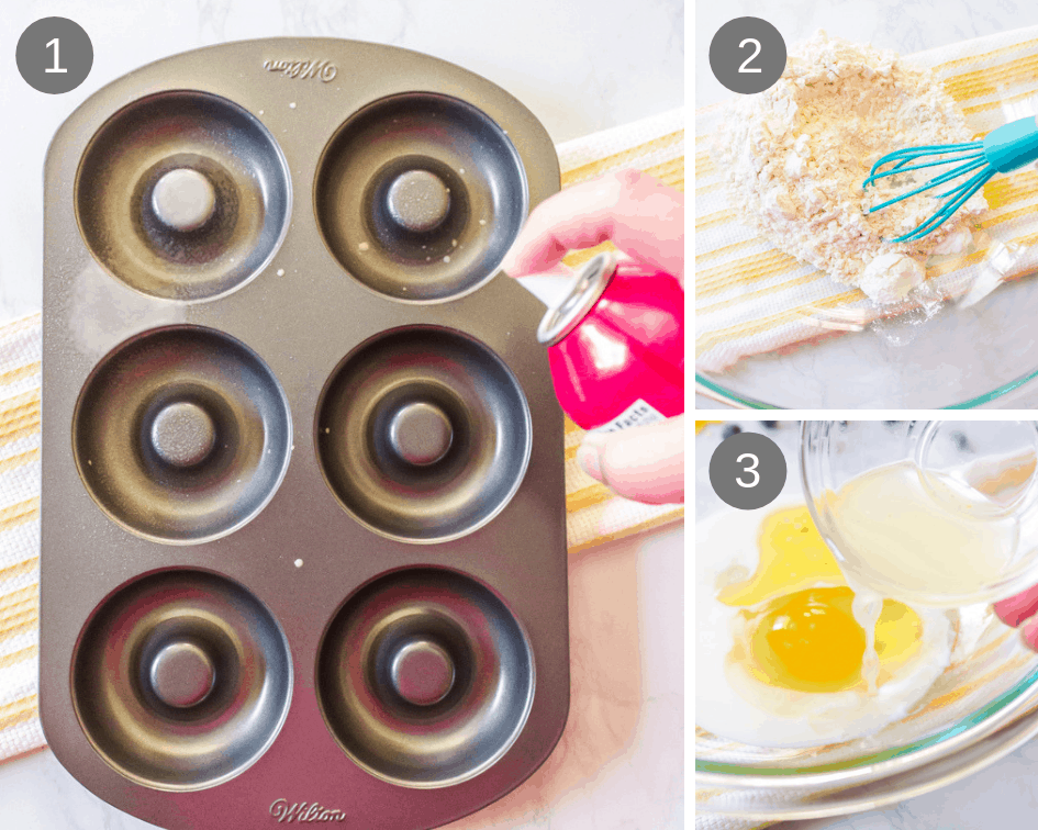 Donut baking pan with dry and wet ingredients for baked donut recipe.