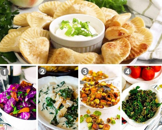 A bunch of food on a table, with Pierogi and Dumpling