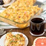 Pan of Amish Breakfast Casserole with coffee