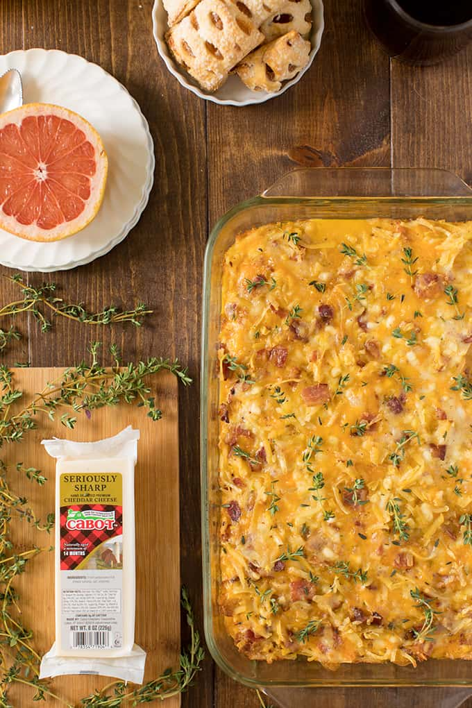 Amish breakfast casserole with grapefruit and cheese.