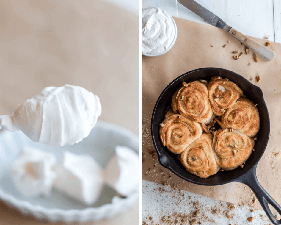 Spoonful of sugar-free frosting for keto cinnamon rolls