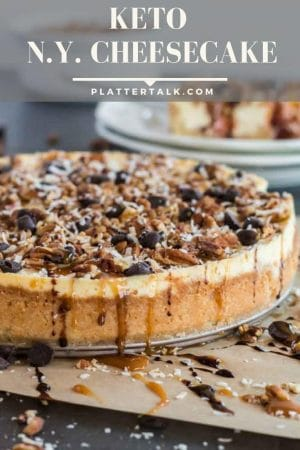 Whole keto cheesecake with nuts and chocolate chips