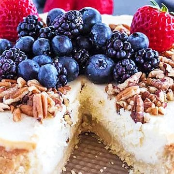Keto cheesecake with berries and nuts.