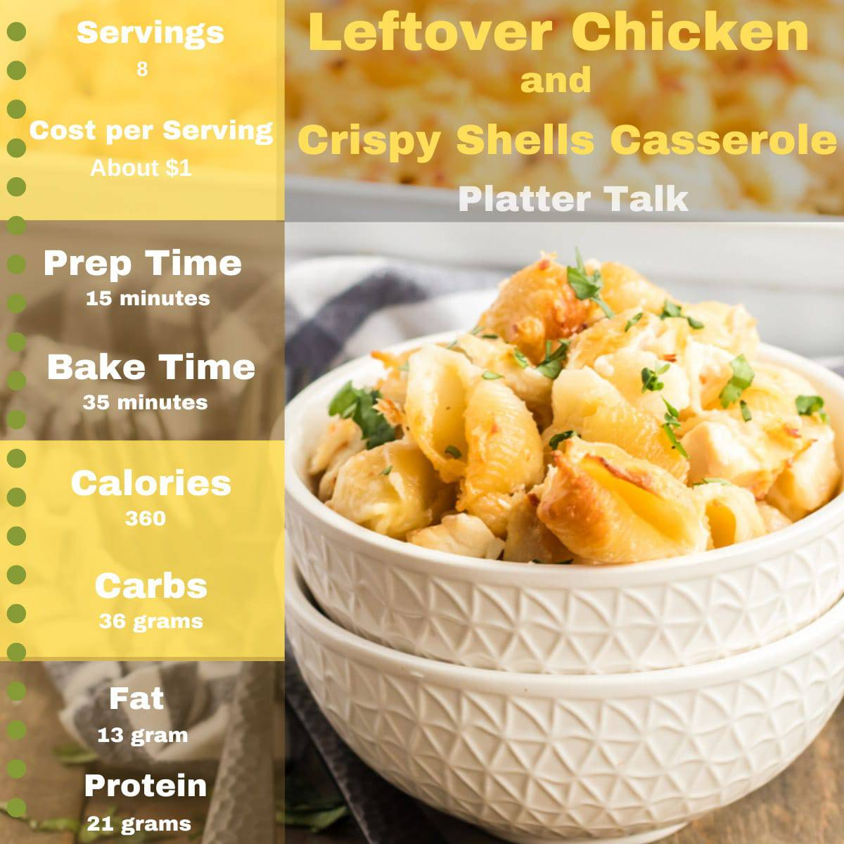 Bowl of baked pasta shells and chicken with nutriion information.