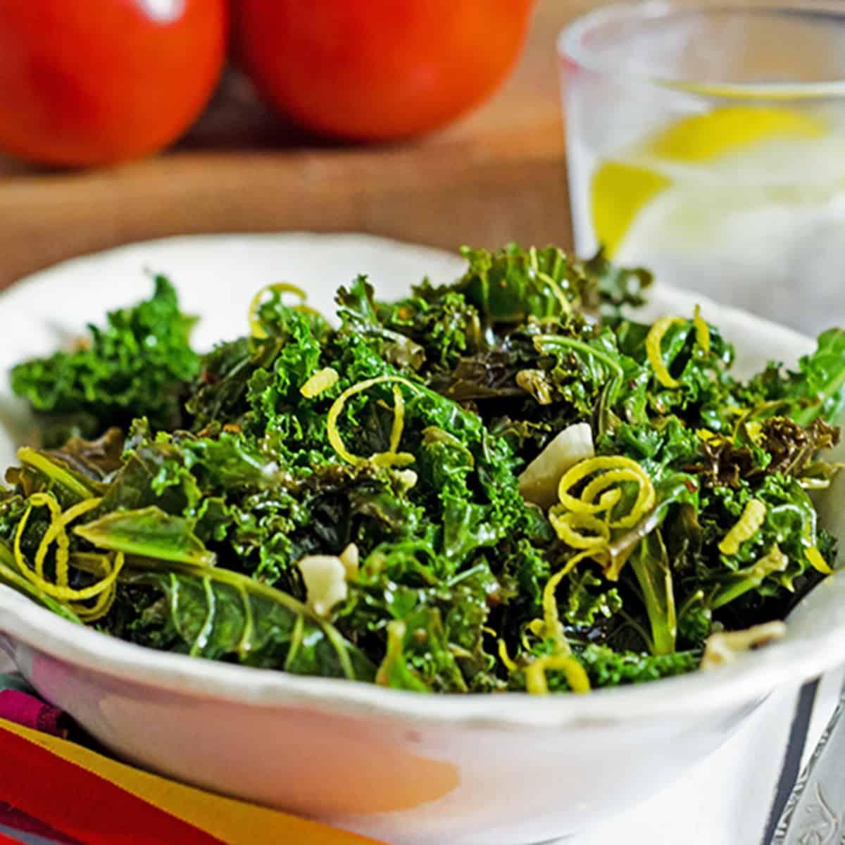 Serving bowl of steamed kale.