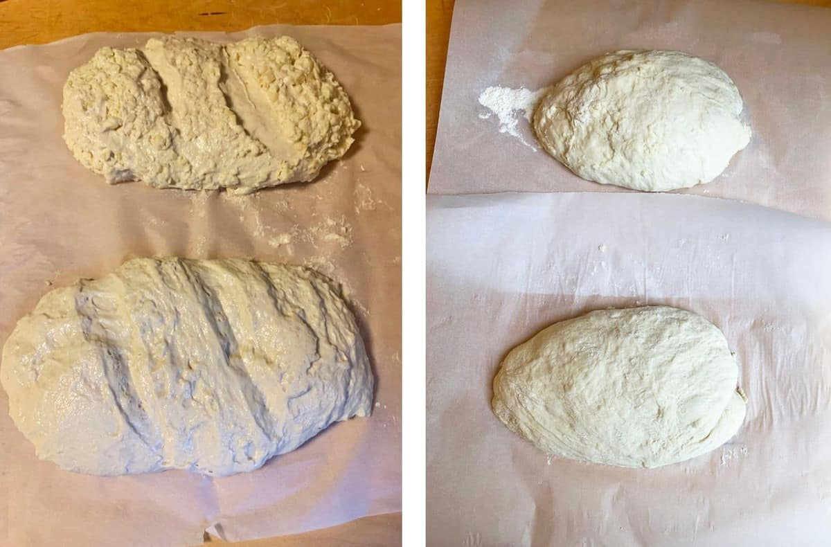 Homemade bread dough that is wet and then with flour added to it