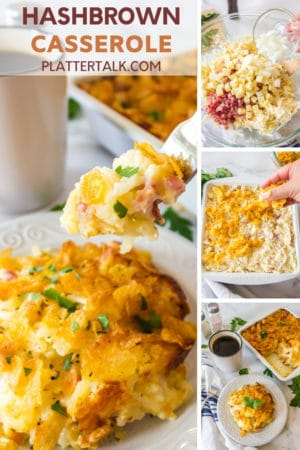 Forkful of cheesy potato casserole serving and process steps for funeral potatoes recipe.