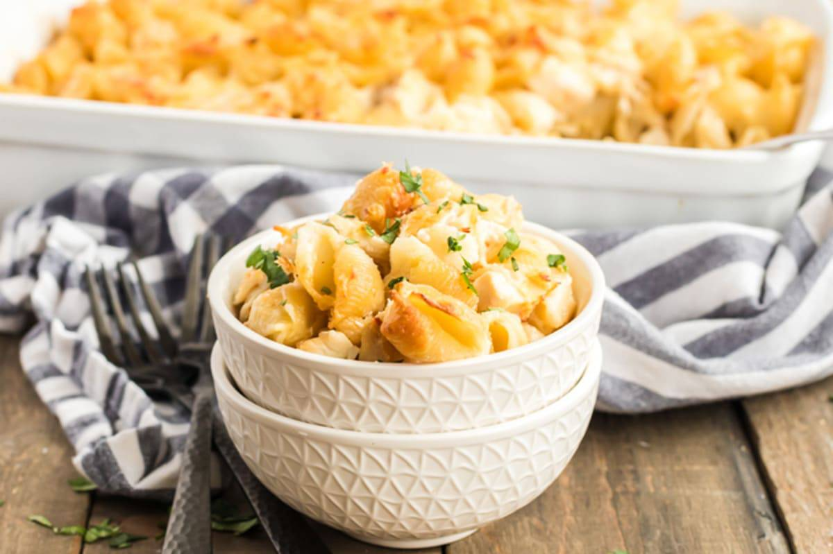 Bowl of ftover chicken casserole.
