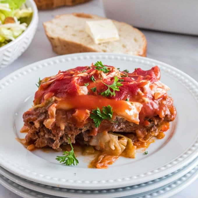 Cabbage Roll Casserole or Lazy Golumpki on a serving plate.