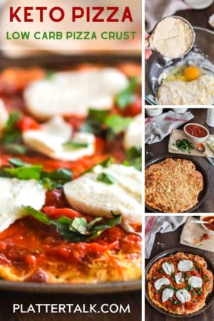 Low carb pizza and process steps to making it.