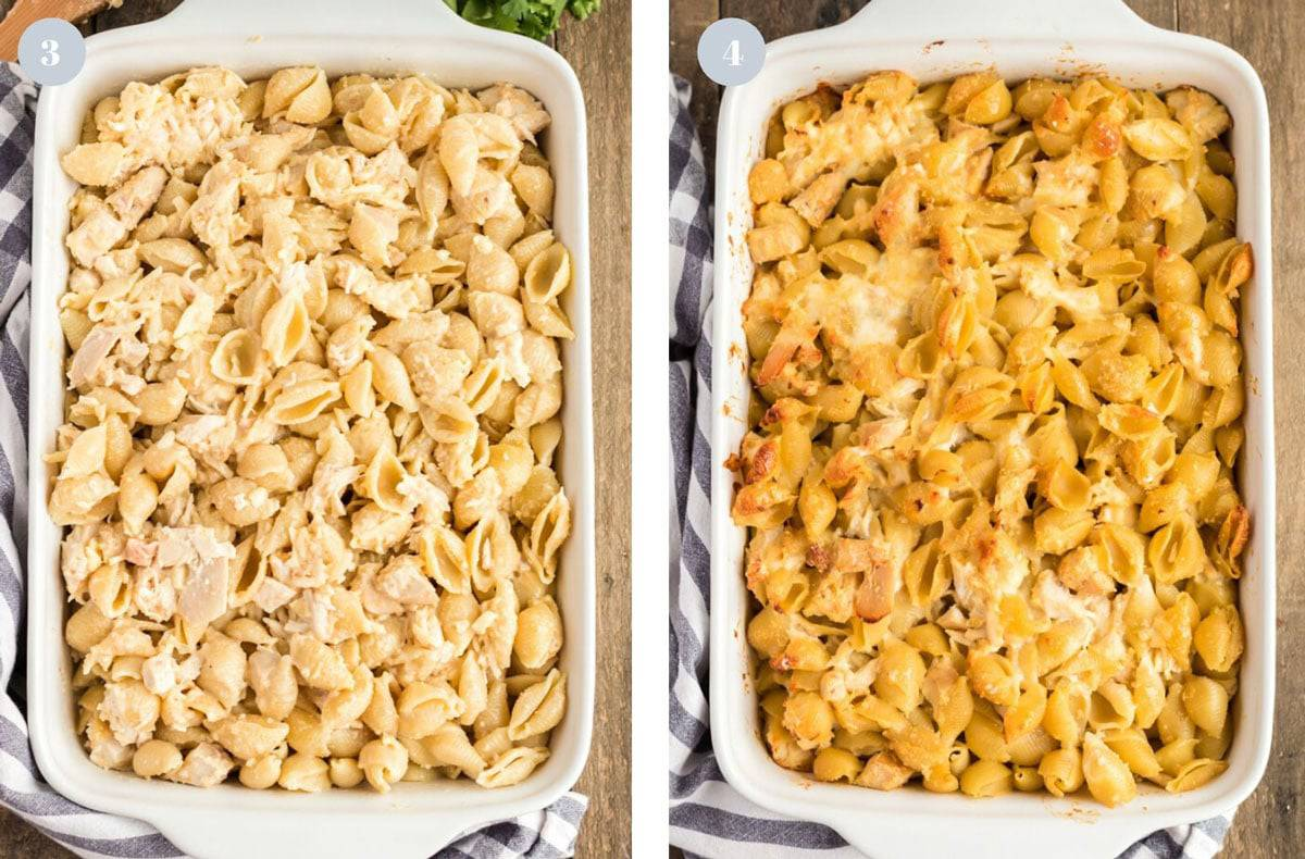 Side by sider comparision of an unbaked leftover chicken casserole and one that is baked.