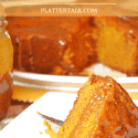 Pumpkin cake with caramel sauce.